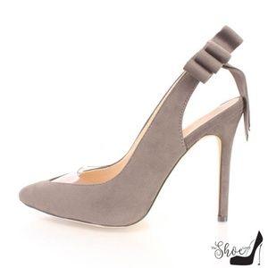 Yvette Grey Bow Pointed Toe Slingback Heels